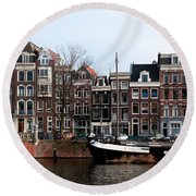 River Scenes From Amsterdam Round Beach Towel by Carol Ailles