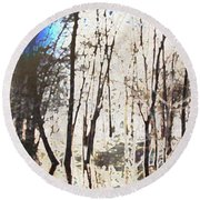 River Trees Round Beach Towel