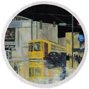 Rivermarket Streetcar 411 Round Beach Towel by Angelo Thomas