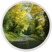 Road Through Autumn Round Beach Towel