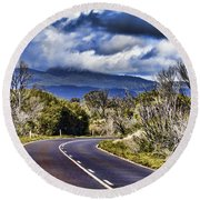 Road With A View Round Beach Towel