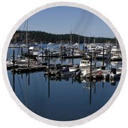 Roche Harbor Reflected Round Beach Towel