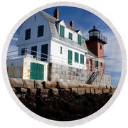 Rockland Breakwater Lighthouse Round Beach Towel