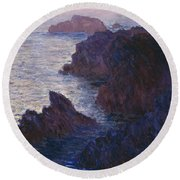 Rocks At Bell Ile Port Domois Round Beach Towel