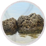 Rocks With Reflection Round Beach Towel