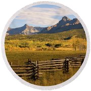 Rocky Mountain Ranch Round Beach Towel by Steve Stuller