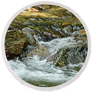 Round Beach Towel featuring the photograph Rocky River by Lydia Holly