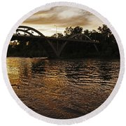 Rogue River Sunset Round Beach Towel