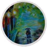 Round Beach Towel featuring the painting Romantic Stroll Series 1 by Leslie Allen