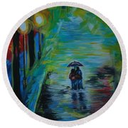 Round Beach Towel featuring the painting Romantic Stroll Series II by Leslie Allen