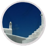 Rooftops Of Mykonos Round Beach Towel by Vivian Christopher
