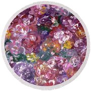 Round Beach Towel featuring the painting Rose Festival by Alys Caviness-Gober