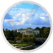 Round Beach Towel featuring the photograph Rose Garden And Hoyt Lake by Michael Frank Jr