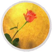 Rose On Leather Round Beach Towel by Susan Carella