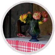Round Beach Towel featuring the photograph Roses In Blue Glass Vase by Lainie Wrightson