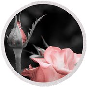 Roses In Pink And Gray Round Beach Towel