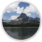 Round Beach Towel featuring the photograph Rowboat At Many Glacier by Lorraine Devon Wilke