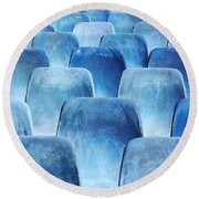 Rows Of Blue Chairs Round Beach Towel