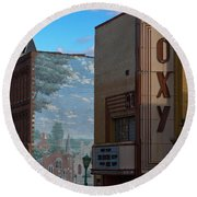 Roxy Theater And Mural Round Beach Towel