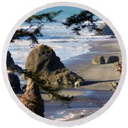 Ruby Beach Iv Round Beach Towel by Jeanette C Landstrom