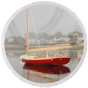 Ruby Red Catboat Round Beach Towel