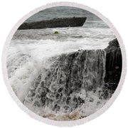 Round Beach Towel featuring the photograph Running Water by Karen Harrison