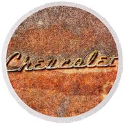 Rusted Antique Chevrolet Logo Round Beach Towel by Dan Stone
