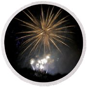 Round Beach Towel featuring the photograph Rvr Fireworks 1 by Mark Dodd