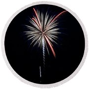 Round Beach Towel featuring the photograph Rvr Fireworks 11 by Mark Dodd