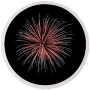 Round Beach Towel featuring the photograph Rvr Fireworks 12 by Mark Dodd