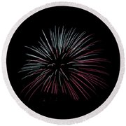 Round Beach Towel featuring the photograph Rvr Fireworks 15 by Mark Dodd