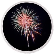 Round Beach Towel featuring the photograph Rvr Fireworks 16 by Mark Dodd