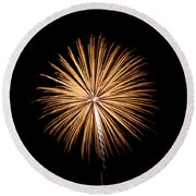 Round Beach Towel featuring the photograph Rvr Fireworks 27 by Mark Dodd
