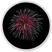 Round Beach Towel featuring the photograph Rvr Fireworks 8 by Mark Dodd