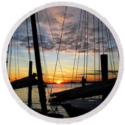 Sail At Sunset Round Beach Towel