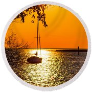 Round Beach Towel featuring the photograph Sail Away by Shannon Harrington