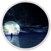 Round Beach Towel featuring the digital art Sailing At Night... by Tim Fillingim