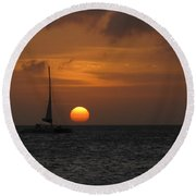 Round Beach Towel featuring the photograph Sailing Away by David Gleeson