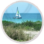 Round Beach Towel featuring the photograph Sailing by Carol  Bradley