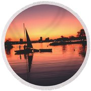 Sailing End Of The Day Backbay  Boston Round Beach Towel