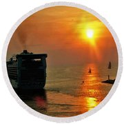 Sailing Into The Sunset Round Beach Towel