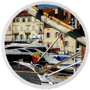 Round Beach Towel featuring the photograph Saint Tropez Harbor by Lainie Wrightson