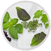 Salad Greens And Spices Round Beach Towel by Joana Kruse
