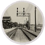 Salisbury North Carolina Depot Round Beach Towel by Wilma  Birdwell
