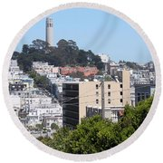 San Francisco Coit Tower Round Beach Towel