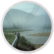 Sand Beach Fog Round Beach Towel by Brent L Ander