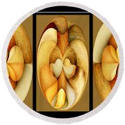 Sanded Woods Triptych Light Round Beach Towel