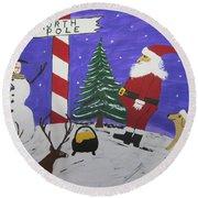 Santa Finds Pot Of Gold Round Beach Towel