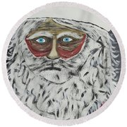 Santa Stressed Out Round Beach Towel