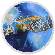 Save The Turtles Round Beach Towel